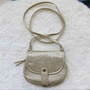 Roxy Gold Faux Leather Small Crossbody Bag Purse